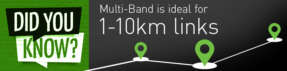 Multi-Band is ideal for 1-10kms links